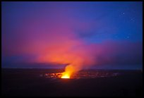 Vog plume and stars at dusk, Kilauea summit. Hawaii Volcanoes National Park, Hawaii, USA. (color)