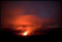 Incandescent illumination of venting gases, Halemaumau crater. Hawaii Volcanoes National Park, Hawaii, USA.