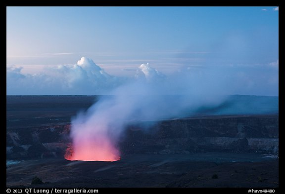 Halemaumau plume with glow from lava lake. Hawaii Volcanoes National Park (color)