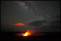 Glowing crater, plume, and Milky Way, Kilauea summit. Hawaii Volcanoes National Park, Hawaii, USA.