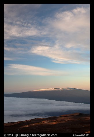 Snowcapped Mauna Loa at sunrise. Hawaii Volcanoes National Park (color)