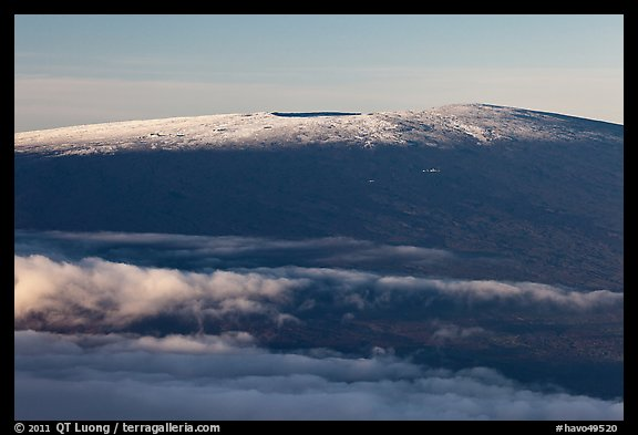 Snow on Mauna Loa summit. Hawaii Volcanoes National Park (color)