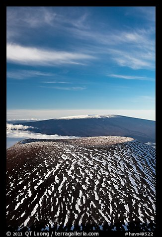Mauna Kea cinder cone and Mauna Loa. Hawaii Volcanoes National Park (color)