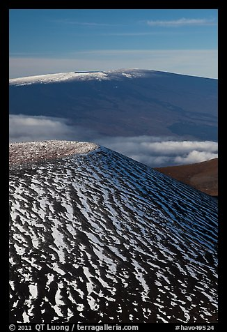 Snowy cinder cone and Mauna Loa summit. Hawaii Volcanoes National Park (color)