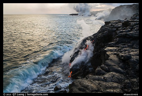 Coastline with lava entering ocean. Hawaii Volcanoes National Park (color)