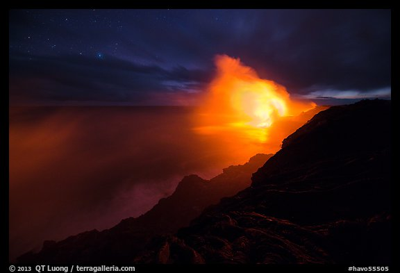 Kilauea lava flows into Pacific Ocean. Hawaii Volcanoes National Park (color)
