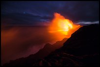 Kilauea lava flows into Pacific Ocean. Hawaii Volcanoes National Park, Hawaii, USA. (color)
