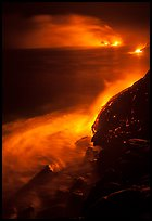 Lava ocean entry at night. Hawaii Volcanoes National Park, Hawaii, USA.