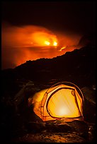Camping by lava flow next to ocean. Hawaii Volcanoes National Park, Hawaii, USA. (color)
