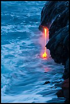 Lava spigot at dawn. Hawaii Volcanoes National Park, Hawaii, USA. (color)