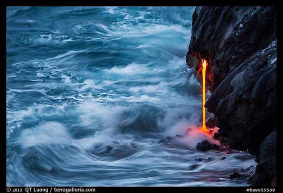 Waves and lava spigot. Hawaii Volcanoes National Park (color)