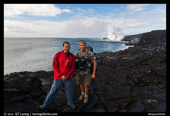 QT Luong and Bryan Lowry at near ocean entry. Hawaii Volcanoes National Park (color)