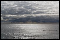 Silvery ocean and clouds, early morning. Hawaii Volcanoes National Park ( color)