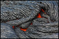 Silvery new lava with glow underneath. Hawaii Volcanoes National Park, Hawaii, USA. (color)