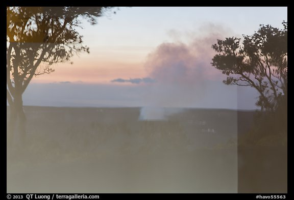 Halemaumau plume, Volcano House window reflexion. Hawaii Volcanoes National Park (color)