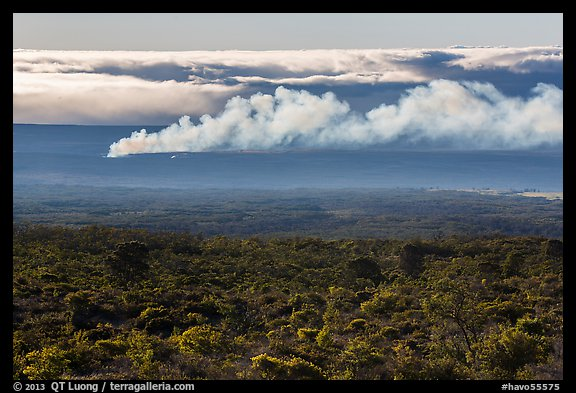 Halemaumau plume spread by trade winds. Hawaii Volcanoes National Park (color)