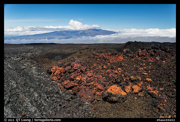 Vein of red and orange lava on Mauna Loa, Mauna Kea in background. Hawaii Volcanoes National Park (color)