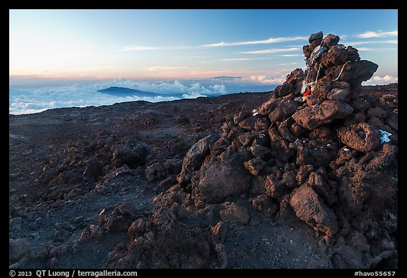 Summit cairn, Mauna Loa. Hawaii Volcanoes National Park (color)
