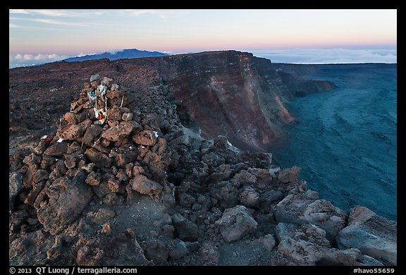Summit cairn and crater at dusk. Hawaii Volcanoes National Park (color)