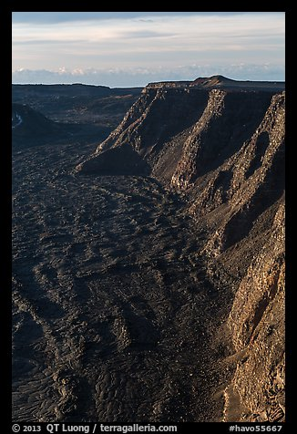 Tall cliffs seen from Mauna Loa summit. Hawaii Volcanoes National Park (color)