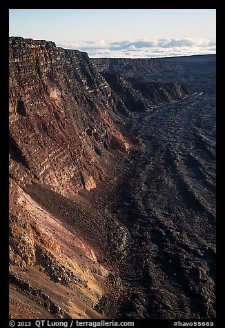 Summit cliffs, Mauna Loa. Hawaii Volcanoes National Park (color)