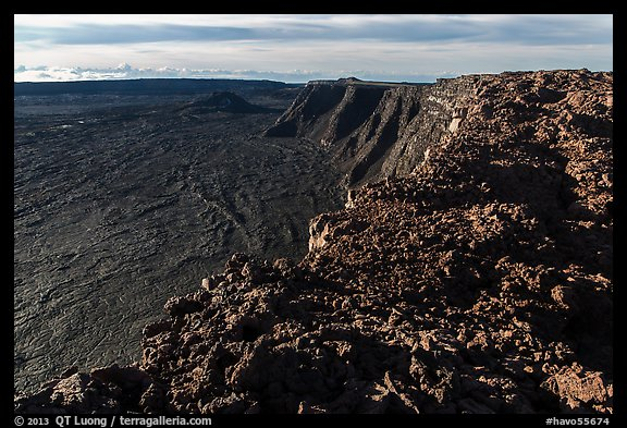 Mokuaweoweo caldera rim from Mauna Loa summit. Hawaii Volcanoes National Park (color)
