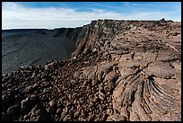 Lava and Mokuaweoweo caldera. Hawaii Volcanoes National Park, Hawaii, USA. (color)
