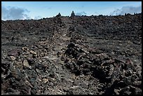 Well marked portion of Mauna Loa summit trail. Hawaii Volcanoes National Park, Hawaii, USA. (color)