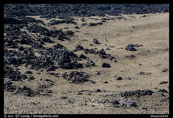 Olivine slopes and black aa lava. Hawaii Volcanoes National Park (color)