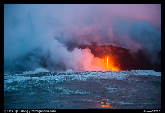 Lava flows creating huge clouds of hydrochloric steam upon meeting with ocean. Hawaii Volcanoes National Park (color)