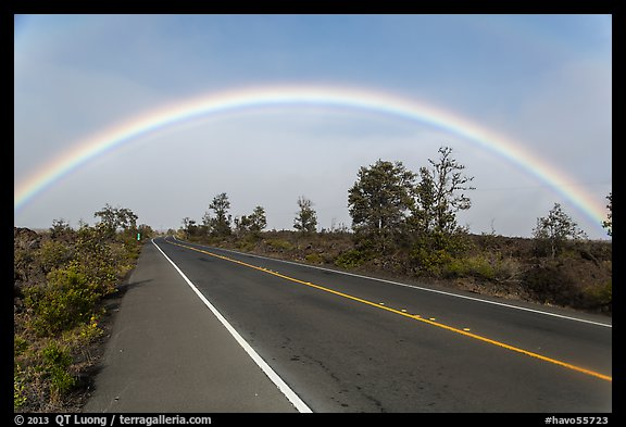 Rainbow over highway. Hawaii Volcanoes National Park (color)