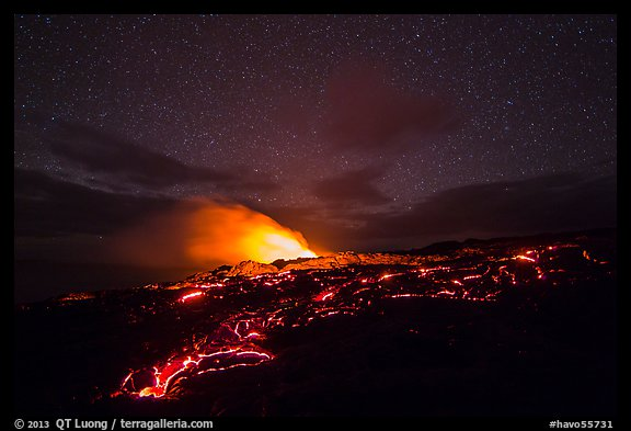 Molten lava flow and plume from ocean entry with stary sky at night. Hawaii Volcanoes National Park (color)