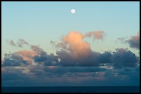 Moon, clouds and ocean, sunset. Hawaii Volcanoes National Park ( color)