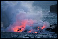 Lava ocean entry from low bench, dusk. Hawaii Volcanoes National Park ( color)