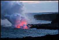 Coastline with ocean entry from delta. Hawaii Volcanoes National Park ( color)