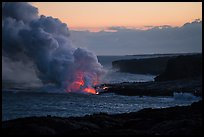 Coastline with ocean entry, sunset. Hawaii Volcanoes National Park ( color)