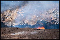 Lava fountains, fumeroles, and venting plume, Halemaumau crater. Hawaii Volcanoes National Park ( color)