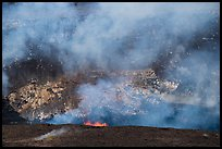 Lava fountains from lava lake in Halemaumau crater. Hawaii Volcanoes National Park ( color)