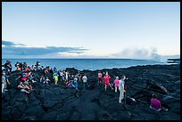 Large group of people at lava viewing area. Hawaii Volcanoes National Park ( color)