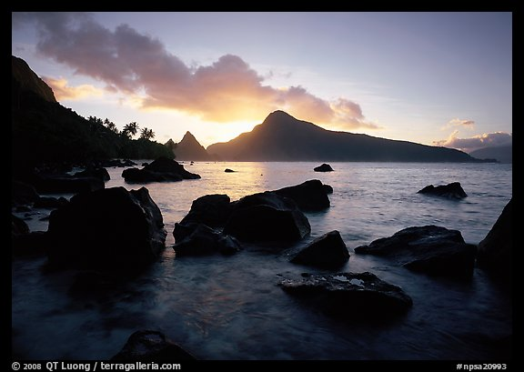 Sunrise from the South Beach, Ofu Island. National Park of American Samoa (color)