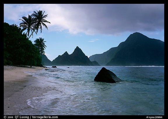 Sunuitao Peak and Piumafua mountain on Olosega Island from the South Beach, Ofu Island. National Park of American Samoa (color)