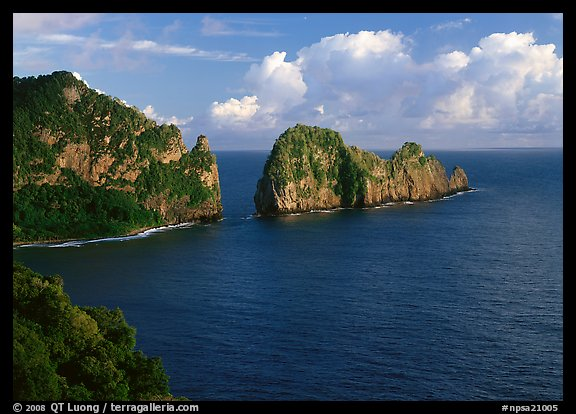 Pola Island and Vaiava Strait, early morning, Tutuila Island. National Park of American Samoa (color)