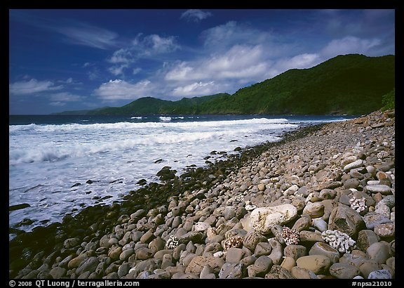 Beached coral heads and Vatia Bay, mid-day, Tutuila Island. National Park of American Samoa (color)