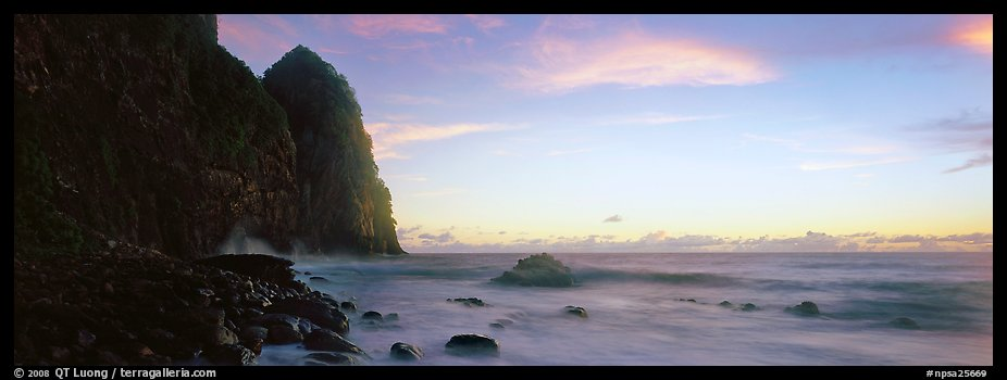 Towering sea cliff at dawn, Tutuila Island. National Park of American Samoa (color)