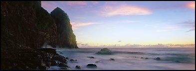 Towering sea cliff at dawn, Tutuila Island. National Park of American Samoa (Panoramic color)