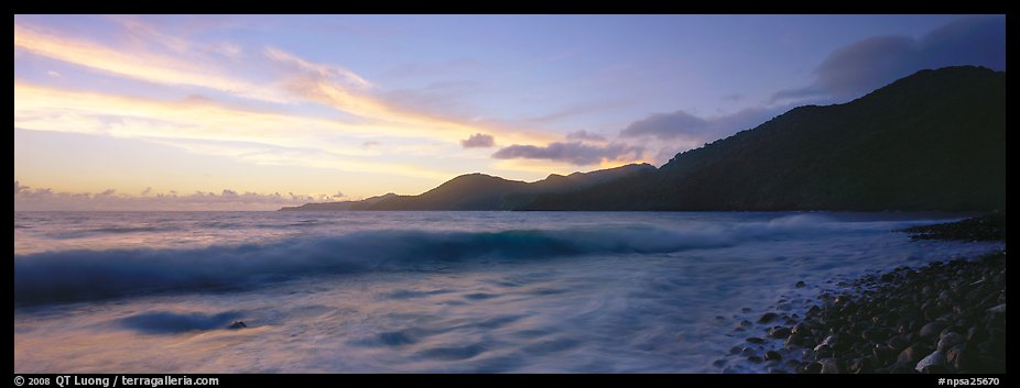 Wave and coastal hills at dawn, Tutuila Island. National Park of American Samoa (color)