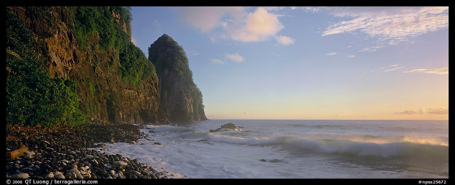 Coastline with tall seacliff, early morning, Tutuila Island. National Park of American Samoa (color)