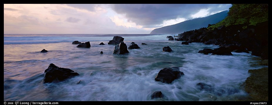 Dynamic seascape with boulders and surf, Tau Island. National Park of American Samoa (color)