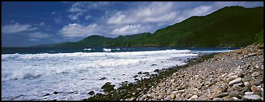 Beach with coral, Tutuila Island. National Park of American Samoa (Panoramic color)