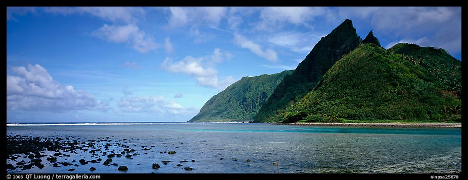 Pointed tropical peaks rising above turquoise waters, Ofu Island. National Park of American Samoa (color)